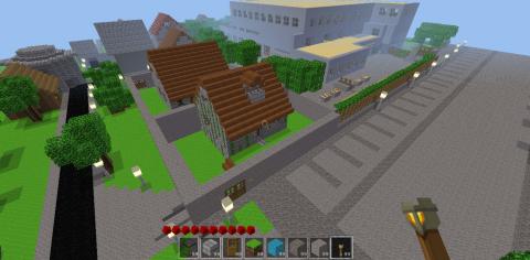 La classe de SVTux a a reconstruit leur collège à l'échelle dans Minetest.