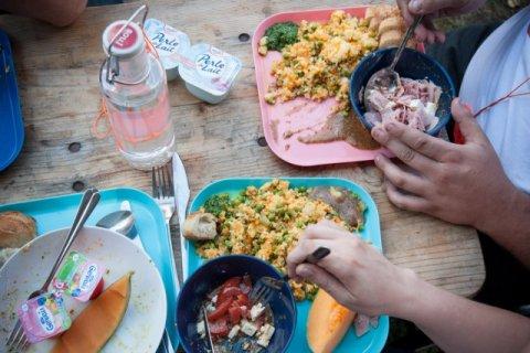 Une assiette végétarienne (en bleu) et une version avec viande (en rose)