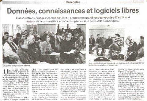 Vosges Opération Libre - Presse