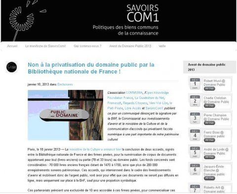La déclaration sur le site de SavoirsCom1