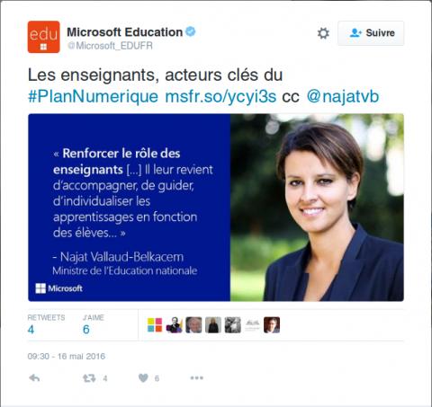 Cette publicité est un vrai tweet Microsoft. Oui. Cliquez sur l'image pour lire l'article de l'APRIL à ce sujet.