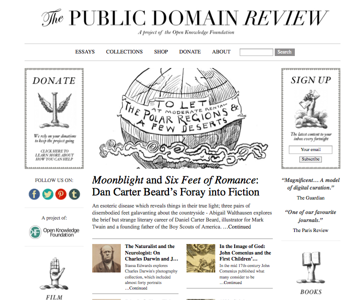 La Public Domain Review (CC-BY-SA, consultée le 13 juin 2014)